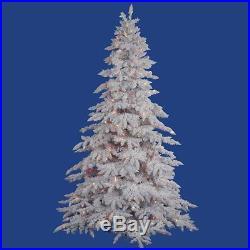 Vickerman Flocked Spruce Clear Pre-lit LED Christmas Tree, White, 7.5 ft