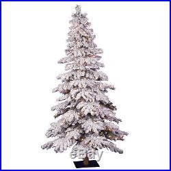 Vickerman Flocked Spruce Pre-lit Artificial Christmas Tree