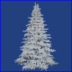 Vickerman Flocked Spruce Unlit Christmas Tree, White, 7.5 ft