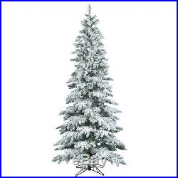 Vickerman Flocked Utica Fir 7.5′ White Artificial Christmas Tree with Stand