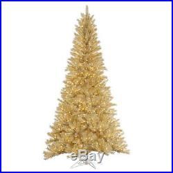 Vickerman White / Gold Tinsel Pre-lit Christmas Tree, 5.5 ft