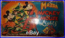 Vintage 12 String Mazda Mickey Mouse lantern Christmas tree lights working F1