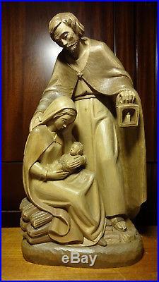Vintage 16 Wood Hand Carved Block Nativity Set Scene Holy Family Mary Jesus