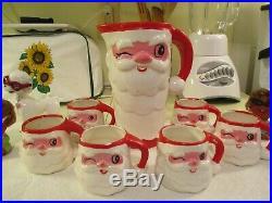 Vintage 1959 Holt Howard Christmas Santa Claus Pitcher Jug & 6 Cups /Mugs Set