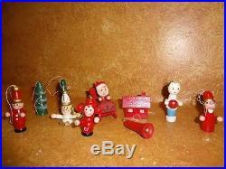Vintage 1980′s Christmas Tree Ornament Wooden Lot Miniature Set 10 Pcs