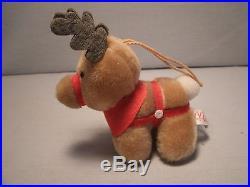 Vintage 1985 Reindeer Plush McDonalds Christmas Ornament 4 1/2 gift cert. Bonus