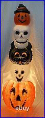 Vintage 1995 Empire Halloween Totem Pole Pumpkin Ghost Skull Cat Blow Mold READ