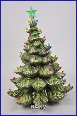 Vintage 19 ATLANTIC Ceramic Mold CHRISTMAS TREE 2pc Jewel Bulbs/Birds Lights