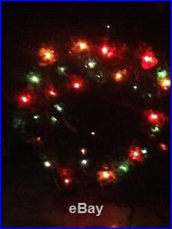 Vintage 36 Christmas wreath lighted ornaments Halle's dept. Store decoration