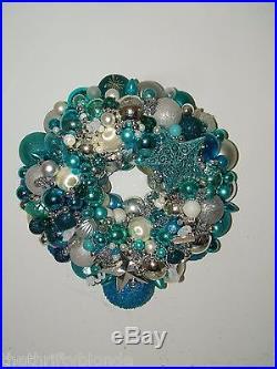 Vintage Aqua Christmas ornament wreath 16 Inch Germany Glass 17047 Silver Teal