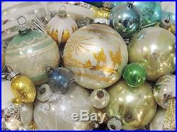 Vintage Blue Aqua Silver Glass Christmas Ornament Wreath Hand Crafted 21