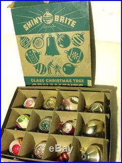 Vintage Box 12 SHINY BRITE Christmas Ornaments Mixed