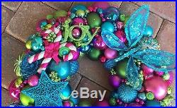 Vintage Bright Christmas ornament wreath 19 Inch 21500 Aqua Pink Green Fuscia