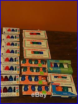 Vintage C9 C7 Multi color Indoor Outdoor Replacement Christmas Light Bulb Lot