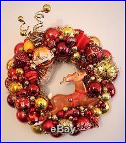 Vintage Christmas Ornament Wreath Glass Blow Mold Reindeer Shiny Brite Handmade