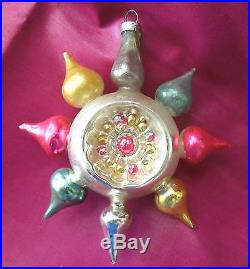 Vintage Christmas Tree Fancy Rare Ornament Blown Glass Multi Colored indent 4.5