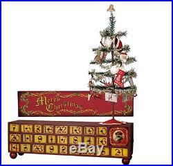 Vintage Christmas Wooden Countdown Advent BoxTree/OrnamentsPrimitive/Calendar