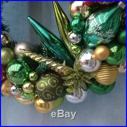 Vintage Christmas ornament wreath. Approx. 21 diameter