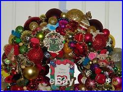 Vintage Christmas wreath ornament 18 Inch Germany Glass 17966 Shiny Brite Angel