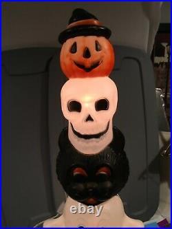 Vintage Empire Halloween Totem Pole Pumpkin Ghost Skull Cat Blow Mold