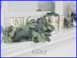 Vintage Eucalyptus White Flower Garland Decoration Christmas Fireplace 120cm