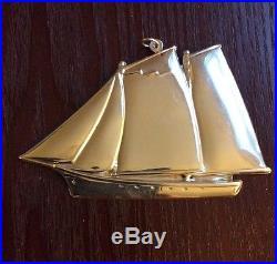 Vintage Gorham Schooner Sailboat Sterling Silver Ornament