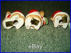Vintage Homco Christmas Tree Santa Mice Mouse Ornaments Set Of 3 Porcelain