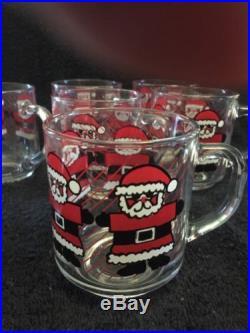 Vintage LUMINARC SANTA Glass Coffee Mugs Hot Chocolate Cups CHRISTMAS Set of 8