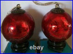 Vintage Mercury heavy Crackle Glass Kugel Red Christmas Ornament 3