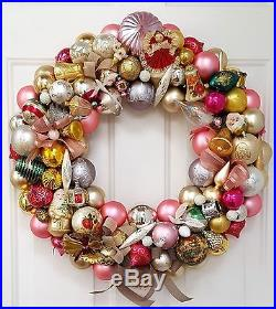 Vintage Pink Glass Christmas Ornament Wreath Hand Crafted 24 Gold Silver White