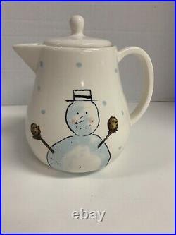 Vintage Rae Dunn M Stamped Magenta Snowman Let It Snow Christmas Teapot RARE