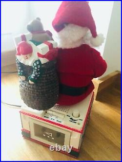 Vintage Rare 80s Animated Christmas Decoration, Santa With Song