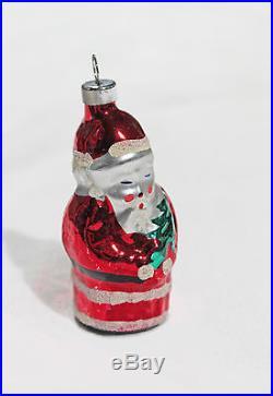 Vintage Santa Claus Christmas Tree Ornament Metallic Glass Holiday Decor