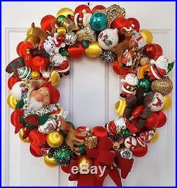 Vintage Satin Flocked Christmas Ornament Wreath Hand Crafted 24 Santa Gnome Elf