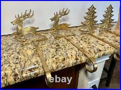 Vintage Set Of 4 Brass Christmas Stocking Holders Hooks Tree Reindeer READ DESC