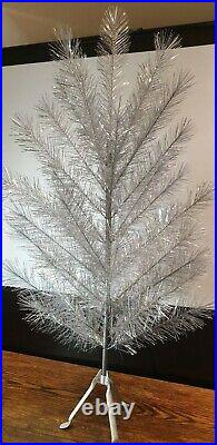 Vintage Silver Tinsel Wood Framed Christmas Tree Antique 122cm Boxed