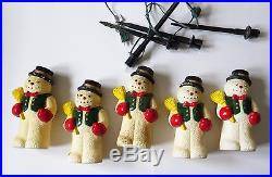 Vintage Snowman Pathway String Lights Set of 5 Christmas Outdoor Decorations