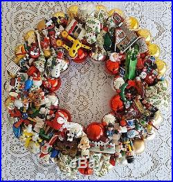 Vintage Wood & Glass Ornament 22 Christmas Holiday Wreath Hand Crafted Santa