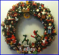 Vintage Wood Ornaments Handmade Christmas Wreath OOAK Rocking Horse Clown Angel