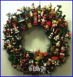 Vintage Wood Ornaments Handmade Christmas Wreath With Lights OOAK Bird House
