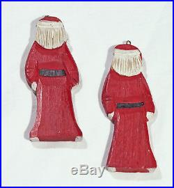Vintage Wooden Santa Claus Christmas Tree Ornaments Pair of 2 Holiday Decor