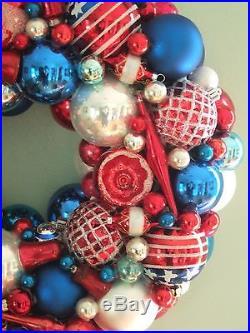 Vintage handmade christmas ornament wreath red white blue 17.5 glass patriotic