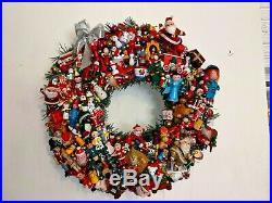 Vintage large Retro Christmas Ornaments Wreath Wooden Mercury Santa Handcrafted