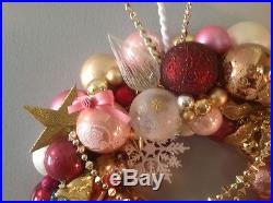 Vintages shabby chic ornament wreath. Approx. 21 diameter