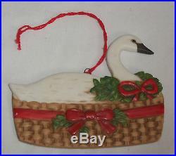 Vtg 1984 Gordon Fraser Schmid Ceramic Swan in a Basket Christmas Ornament Bow