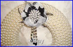 Vtg Chic Shabby XMAS LUXURY Black & White Pearl Rhinestone Wreath BLING Holiday