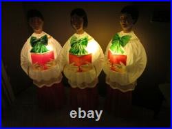 Vtg Christmas Choir Girl & Boys Lighted Carolers Blow Mold LARGE 48 Tall