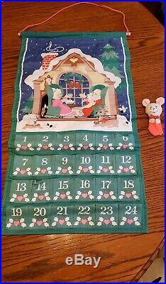 Vtg NEW 1987 Avon Advent Calendar Countdown Christmas Fabric Santa Claus w MOUSE