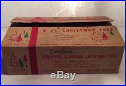 Vtg. RARE Evergleam Stainless Aluminum 6′ Christmas Tree 94 Branches (I52)
