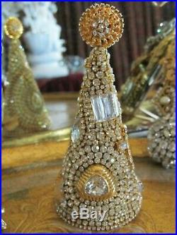 Vtg SWAROVSKI CRYSTAL RHINESTONE JEWELRY CHRISTMAS TREE BROOCH Button No Frame